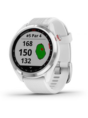 Garmin Approach S42 GPS Golf Watch - Polished Silver - White Band