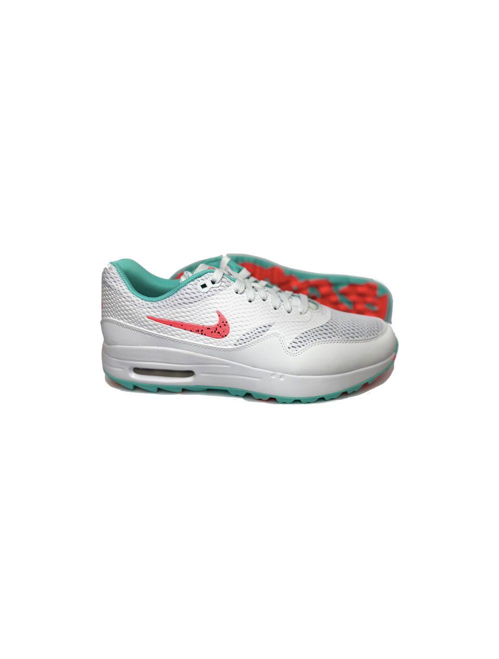Nike Air Max 1 G Golf Shoes White Hot Punch Aurora Green Aslan Golf