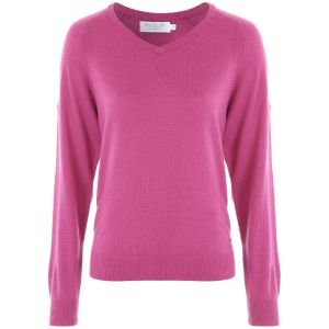 ProQuip AMY Ladies Merino V Neck Sweater - Rouge @Aslan Golf and Sports
