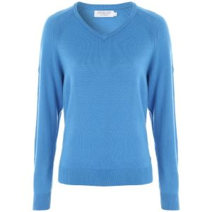 ProQuip AMY Ladies Merino V Neck Sweater - Sky @Aslan Golf and Sports